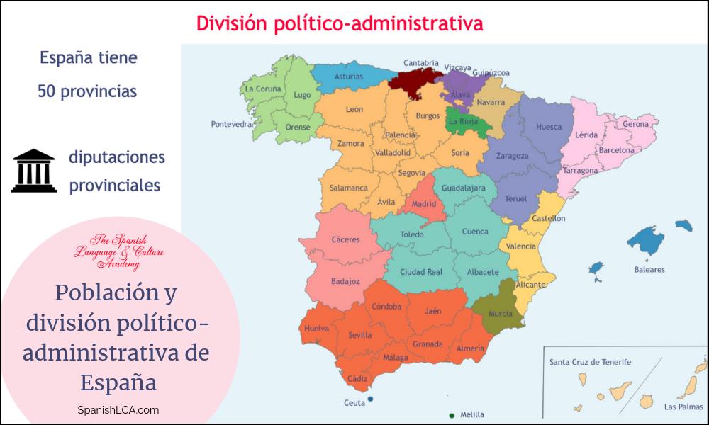 Población y división político-administrativa de España