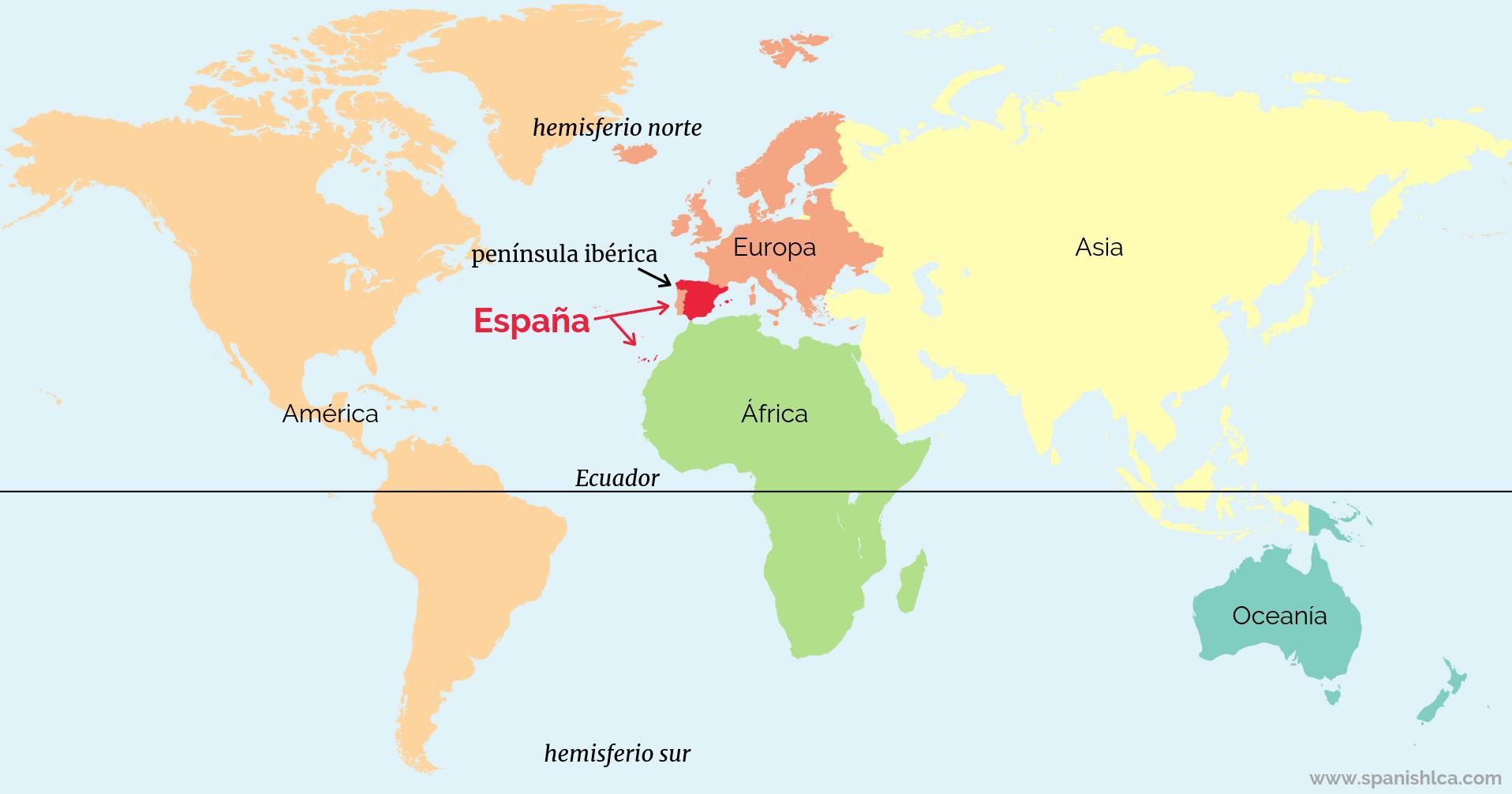 Mapa que muestra la ubicación de España en el mundo.
