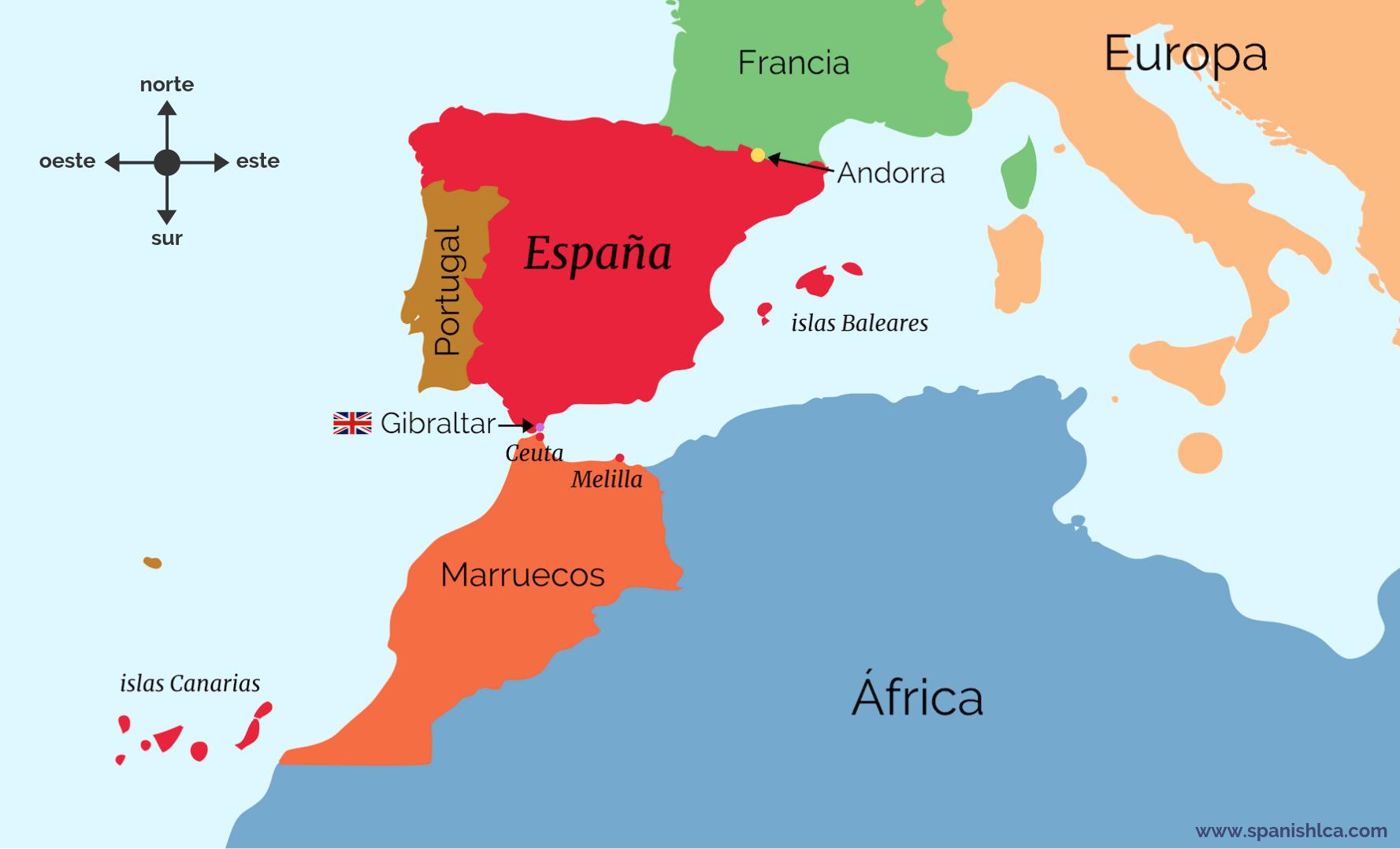Mapa que muestra las fronteras de España: Francia, Andorra, Portugal, Reino Unido y Marruecos