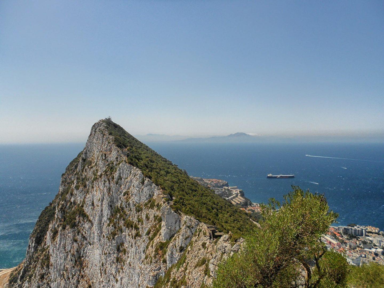Vista del estrecho de Gibraltar desde el Peñón de Gibraltar, con África al fondo