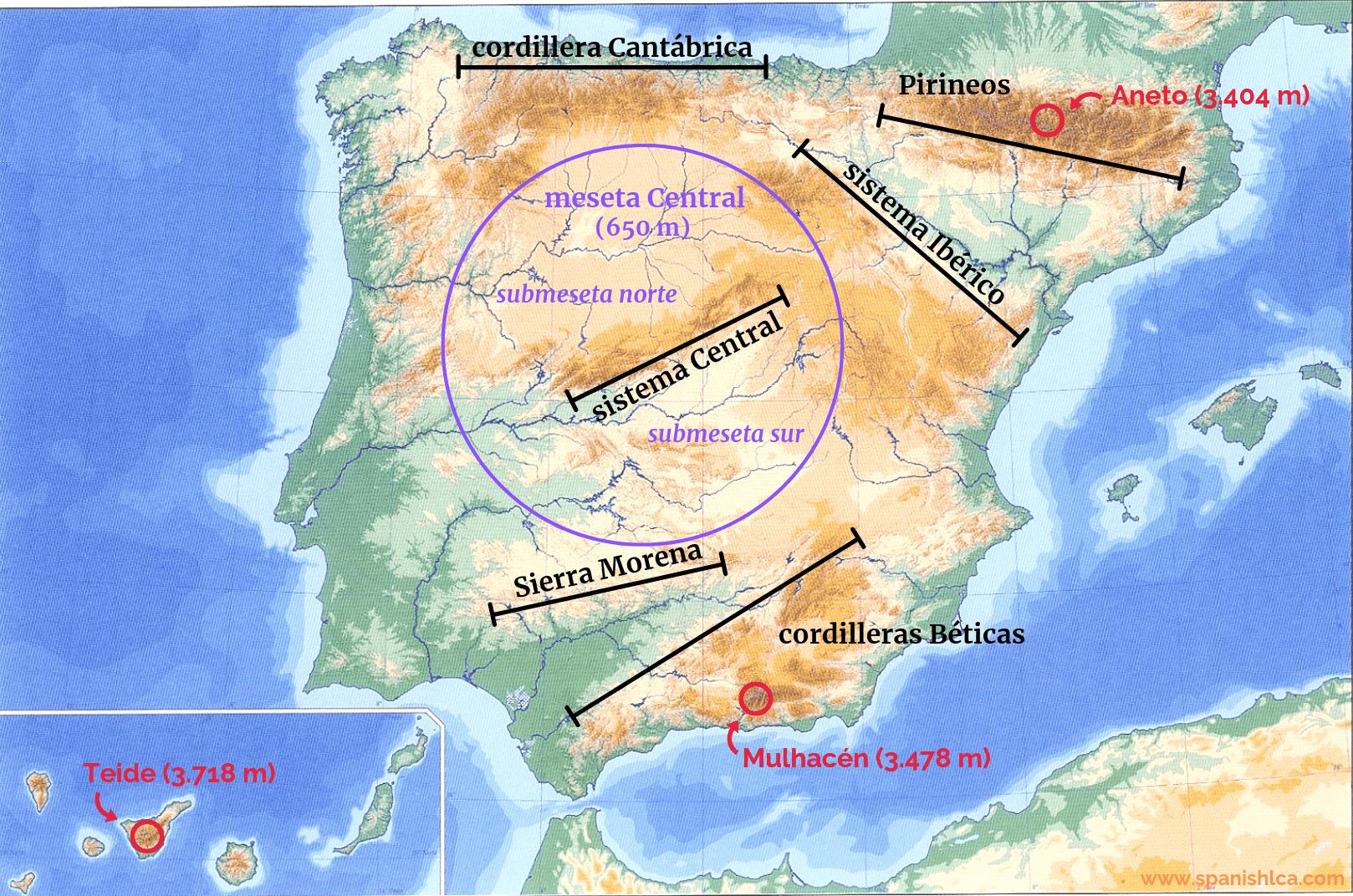 Mapa de los sistemas montañosos de España y la meseta Central