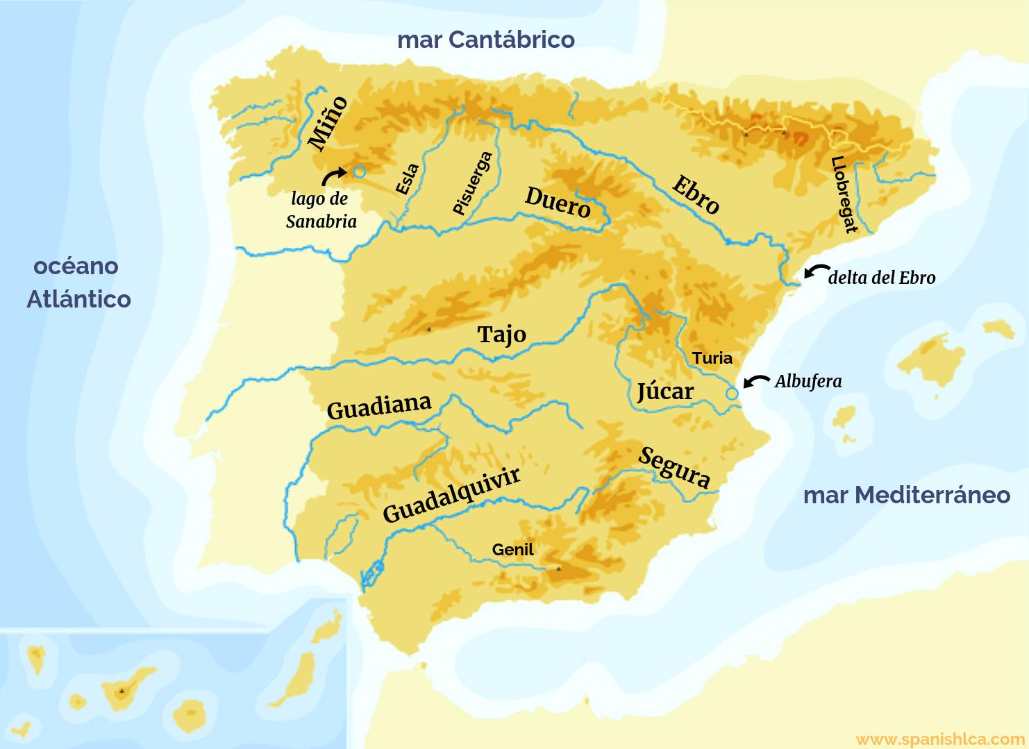 Mapa de los ríos de la península ibérica