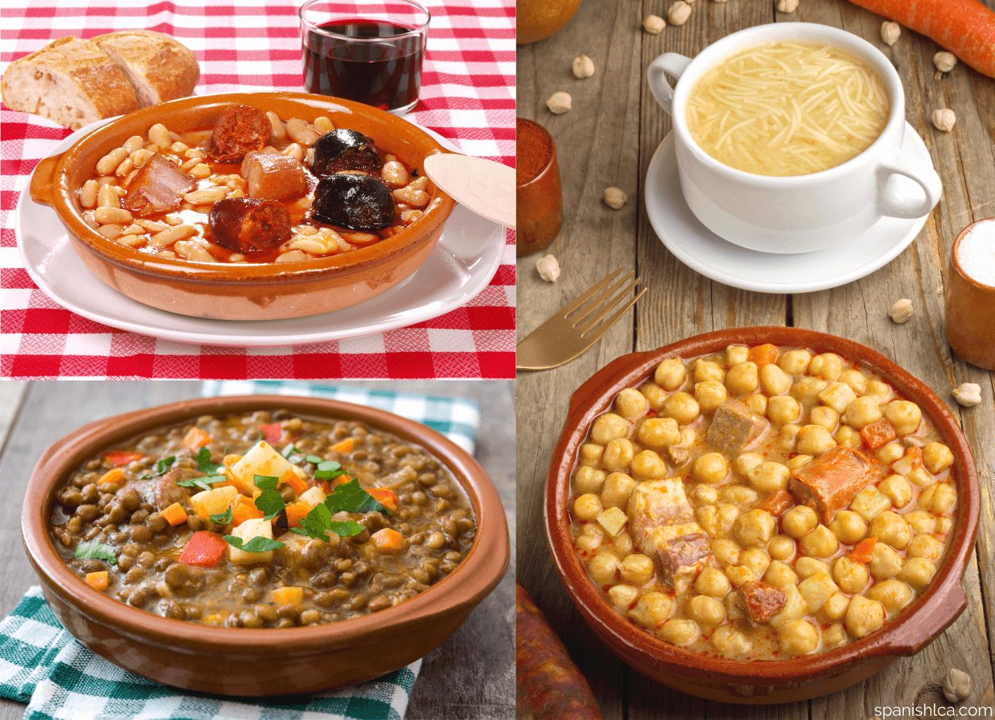 Fabada asturiana, cocido madrileño y lentejas a la riojana.